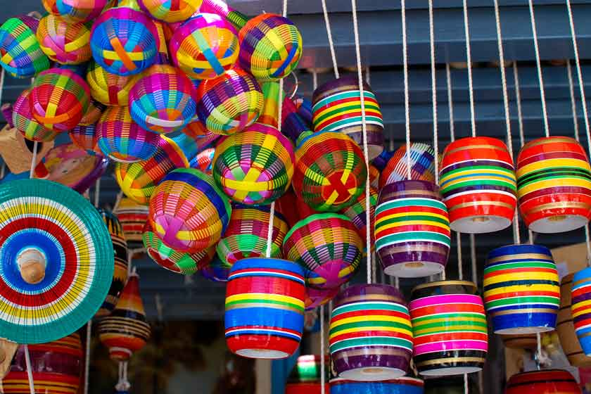 Colorful lanterns hanging in an outdoor market
