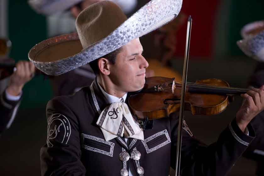 Man playing violin at International Mariachi Festival