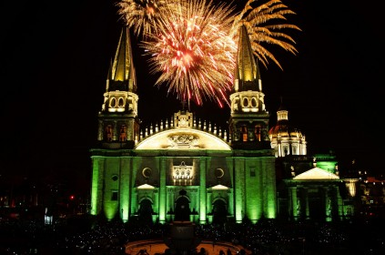 The Guadalajara Cathedral lit up at night